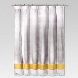 Project 62 yellow stripe shower curtain